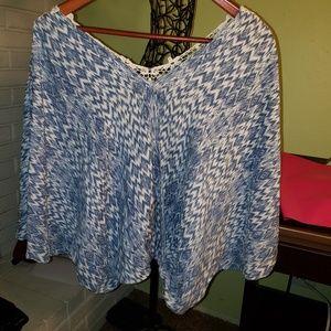 Lovestitch Surplice Top w/Crochet Back Detail, L
